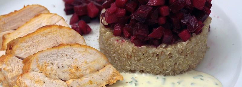 Ge-kocht: fruchtige rote Beete mit Hühnchen und Quinoa